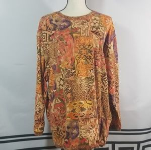 Carole Little Sport M Tunic Abstract Long Sleeve